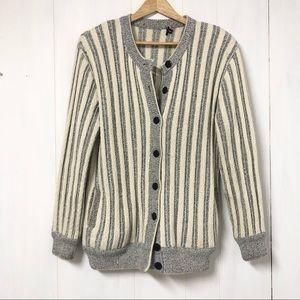 Vintage Grey and Cream Stripe Sweater/ Cardigan